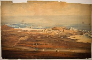 WATERCOLOR VIEW OF COASTAL FORT, PROBABLY ASCENSION ISLAND]. Ascension Island