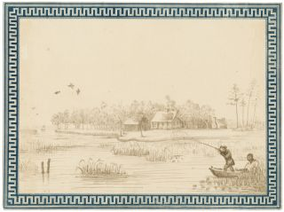 GROUP OF THREE SCENES ALONG THE SUWANEE RIVER, DRAWN BY UNITED STATES NAVY LIEUTENANT JOHN B....