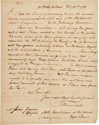AUTOGRAPH LETTER, SIGNED, FROM JOHN TRUMBULL TO MR. JOHN GROOM, ASSESSOR AT THE COURTHOUSE OF THE...
