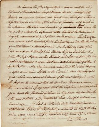 AUTOGRAPH MEMORANDUM REGARDING THE DETENTION OF THE SHIP HOLLAND ON AUGUST 7, 1796]. John Trumbull
