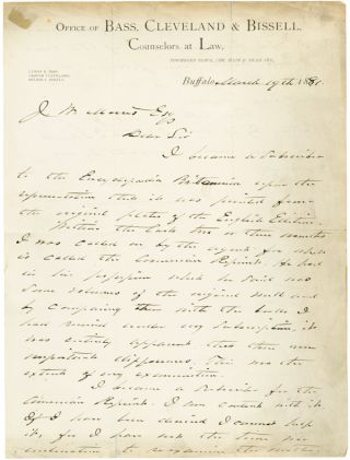 AUTOGRAPH LETTER, SIGNED, FROM GROVER CLEVELAND TO J.W. MORRIS, REGARDING CLEVELAND'S...