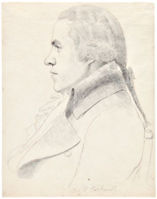 [TWO PENCIL SKETCHES BY WILLIAM DANIELL, AFTER ARCHITECT GEORGE DANCE, SHOWING ARTISTS WILLIAM HODGES AND SAMUEL PEPYS COCKERELL]. William Daniell.