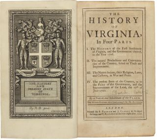 THE HISTORY OF VIRGINIA, IN FOUR PARTS....