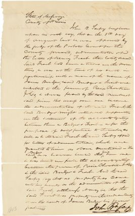 MANUSCRIPT DOCUMENT SIGNED BY JOHN P. SARPY, TESTIFYING TO THE DISPERSAL OF THE ESTATE OF HENRY...