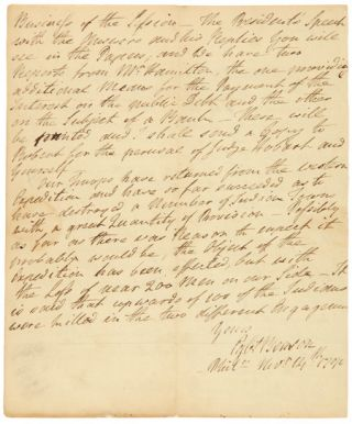 "AUTOGRAPH LETTER, SIGNED (""EGBT BENSON""), FROM EGBERT BENSON AS U.S. CONGRESSMAN FROM NEW YORK,..."