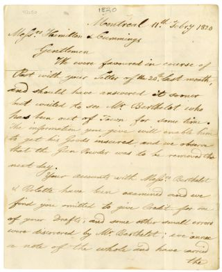 AUTOGRAPH LETTER FROM THE MONTREAL FIRM OF DESRIVIERES, BLACKWOOD & Co., TO THE QUEENSTON FIRM OF...