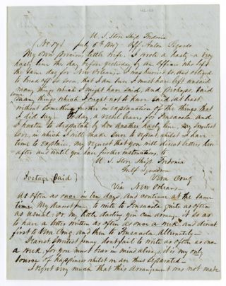 AUTOGRAPH LETTER, SIGNED, FROM A SAILOR TO HIS WIFE DURING THE MEXICAN-AMERICAN WAR]....