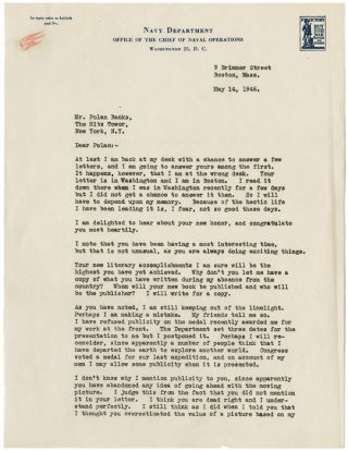 "TYPED LETTER, SIGNED (""DICK""), FROM RICHARD BYRD TO POLAN BANKS, DISCUSSING BYRD'S EXPERIENCES IN..."