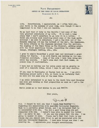 "[TYPED LETTER, SIGNED (""DICK""), FROM RICHARD BYRD TO POLAN BANKS, DISCUSSING BYRD'S EXPERIENCES IN THE WAR, THE POSSIBLITY OF A FILM BEING MADE OF HIS LIFE, AND HIS DESIRE TO RETURN TO ANTARCTICA]."