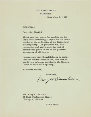 "TYPED LETTER, SIGNED, FROM DWIGHT D. EISENHOWER TO KING V. HOSTICK, THANKING HIM FOR ""THE LITTLE..."