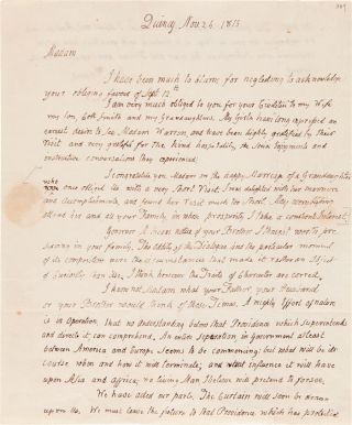 AUTOGRAPH LETTER, SIGNED, FROM JOHN ADAMS TO MERCY OTIS WARREN]. John Adams