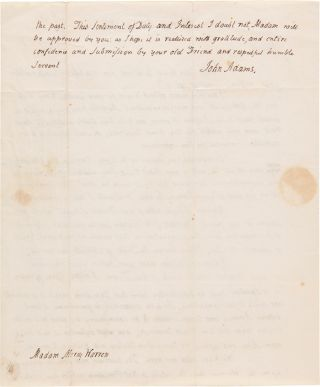 [AUTOGRAPH LETTER, SIGNED, FROM JOHN ADAMS TO MERCY OTIS WARREN, ON FAMILY MATTERS, THE IMPORTANT PRE-REVOLUTIONARY ACTIVITIES OF HER BROTHER, JAMES OTIS, JR., AND ON WHAT THE FUTURE HOLDS FOR THE UNITED STATES AS IT WAGED THE WAR OF 1812].