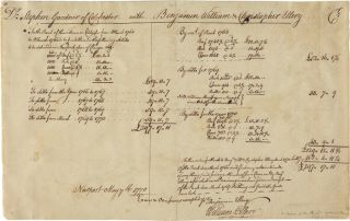MANUSCRIPT BILL, SIGNED BY DECLARATION OF INDEPENDENCE SIGNER, WILLIAM ELLERY, DETAILING THE SUMS...