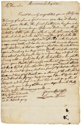 AUTOGRAPH LETTER, SIGNED, FROM LEWIS MORRIS TO HIS SON, JACOB, CONGRATULATING HIM ON THE BIRTH OF...