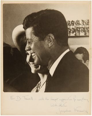PHOTOGRAPH OF PRESIDENT AND MRS. KENNEDY, INSCRIBED BY HER SOON AFTER THE ASSASSINATION, TO JFK'S...