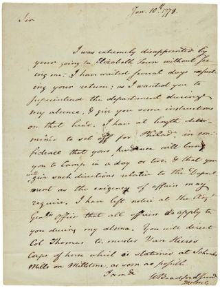 AUTOGRAPH LETTER, SIGNED, FROM WILLIAM BRADFORD, JR. TO JOSEPH CLARK, LEAVING CLARK IN CHARGE...