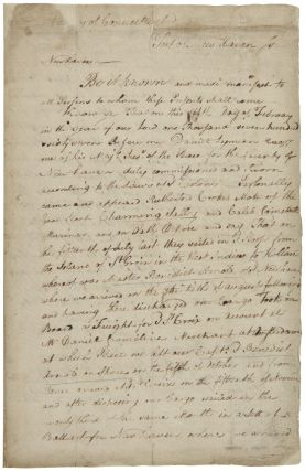 [PROTEST LODGED AGAINST THE NEW HAVEN CUSTOMS HOUSE, AFTER REPEATED SEARCHES OF THE SHIP AND REFUSAL OF ENTRY; SIGNED BY TWO MEN OF THE CREW]. Benedict Arnold.