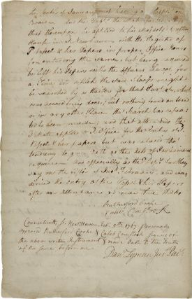 [PROTEST LODGED AGAINST THE NEW HAVEN CUSTOMS HOUSE, AFTER REPEATED SEARCHES OF THE SHIP AND REFUSAL OF ENTRY; SIGNED BY TWO MEN OF THE CREW].