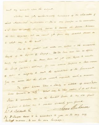 [AUTOGRAPH LETTER, SIGNED, FROM JAMES BUCHANAN TO JAMES A. CALDWELL].