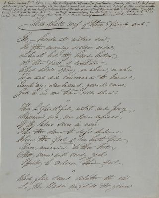 "AUTOGRAPH POEM, ""THOU SHALT REAP IF THOU FAINT NOT,"" WRITTEN AND SIGNED BY SOCIAL REFORMER..."