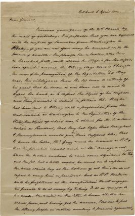 AUTOGRAPH LETTER, SIGNED, FROM JOHN ARMSTRONG TO GEN. JOHN SMITH, OUTLINING THE POLITICAL...