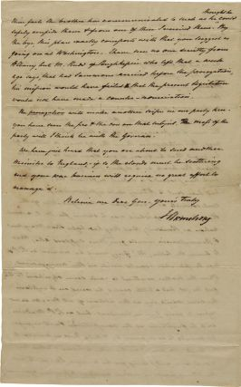 [AUTOGRAPH LETTER, SIGNED, FROM JOHN ARMSTRONG TO GEN. JOHN SMITH, OUTLINING THE POLITICAL MACHINATIONS FOR THE 1812 PRESIDENTIAL ELECTION].