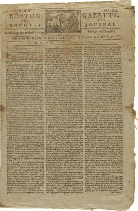 THE BOSTON GAZETTE AND THE COUNTRY JOURNAL. No. 1484. American Newspaper, American Revolution