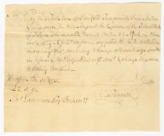 AUTOGRAPH DOCUMENT, SIGNED BY OLIVER ELLSWORTH AND THOMAS SEYMOUR, AUTHORIZING PAYMENT TO THE...
