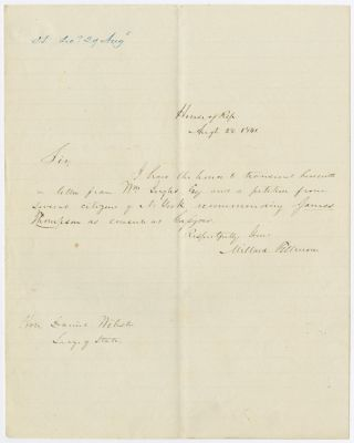 AUTOGRAPH LETTER, SIGNED, FROM MILLARD FILLMORE TO DANIEL WEBSTER RECOMMENDING JAMES THOMPSON AS...