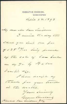 AUTOGRAPH LETTER, SIGNED, FROM GROVER CLEVELAND TO HOWARD VAN SINDEREN, REGARDING THE SALE OF...