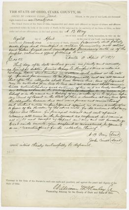 AUTOGRAPH COURT DOCUMENT, SIGNED BY WILLIAM McKINLEY AS PROSECUTING ATTORNEY FOR STARK COUNTY,...
