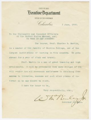 TYPED LETTER OF INTRODUCTION FOR CHARLES B. MARTIN, SIGNED BY WILLIAM McKINLEY]. William McKinley