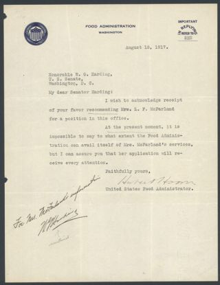 TYPED LETTER, SIGNED, FROM HERBERT HOOVER TO WARREN G. HARDING, REGARDING AN APPLICATION FOR A...