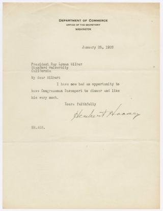 TYPED LETTER, SIGNED, FROM HERBERT HOOVER TO RAY LYMAN WILBUR]. Herbert Hoover