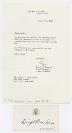 CARD, AUTOGRAPHED BY DWIGHT D. EISENHOWER, WITH ACCOMPANYING LETTER FROM HIS SECRETARY]. Dwight...