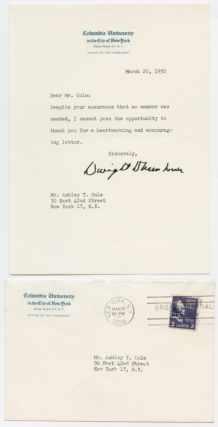 TYPED LETTER, SIGNED, FROM DWIGHT D. EISENHOWER TO ASHLEY T. COLE, THANKING HIM FOR WRITING]....