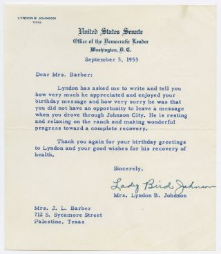 TYPED LETTER, SIGNED, FROM LADY BIRD JOHNSON TO MRS. J.L. BARBER, THANKING HER FOR HER CONCERN...