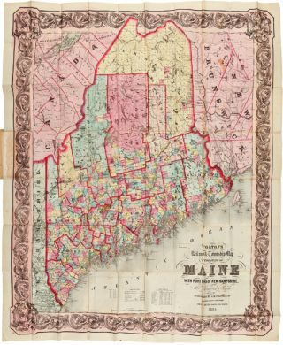 COLTON'S RAILROAD & TOWNSHIP MAP OF THE STATE OF MAINE, WITH PORTIONS OF NEW HAMPSHIRE, NEW...