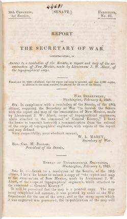 REPORT OF THE SECRETARY OF WAR, COMMUNICATING...A REPORT AND MAP OF THE EXAMINATION OF NEW...
