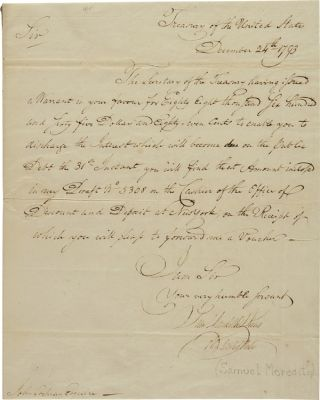 AUTOGRAPH MANUSCRIPT VOUCHER, SIGNED, ADDRESSED TO JOHN COCHRAN, ESQ. COMMISSIONER OF LOANS FOR...