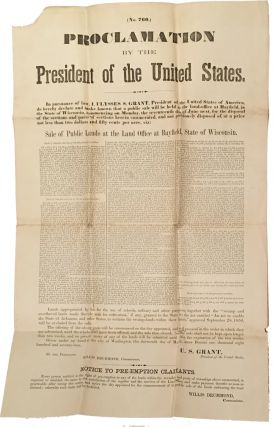 No. 760.) PROCLAMATION BY THE PRESIDENT OF THE UNITED STATES...SALE OF PUBLIC LANDS AT THE LAND...