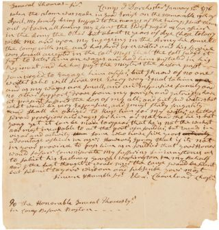 AUTOGRAPH LETTER, SIGNED, FROM REV. EBENEZER CLEAVELAND TO GENERAL JOHN THOMAS, REQUESTING THAT...