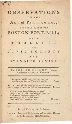 OBSERVATIONS ON THE ACT OF PARLIAMENT, COMMONLY CALLED THE BOSTON PORT-BILL; WITH THOUGHTS ON...