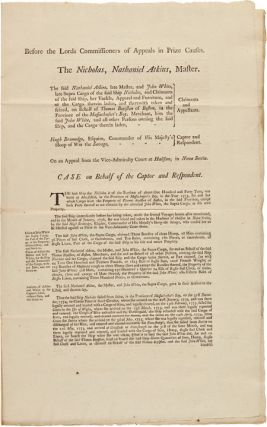 [FIVE LEGAL DOCUMENTS COMPRISING THE APPEAL CASE OF THE AMERICAN SHIP NICHOLAS, SEIZED IN 1776 BY THE BRITISH SLOOP OF WAR SAVAGE].