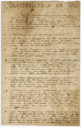 MANUSCRIPT CONSTITUTION FOR A LOCALLY-ORGANIZED MILITIA UNIT]. Militia Law
