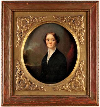 OVAL PORTRAIT OF MRS. CLARA BARTLETT GREGORY CATLIN]. George Catlin, George Linen