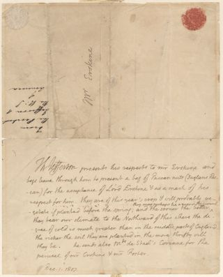 AUTOGRAPH NOTE FROM PRESIDENT THOMAS JEFFERSON TO AMBASSADOR DAVID ERSKINE CONVEYING SOME...