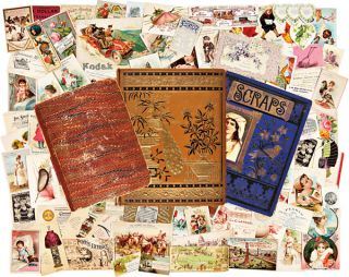 COLLECTION OF SCRAPBOOKS CONTAINING OVER 1000 TRADING CARDS, ADVERTISEMENTS, AND OTHER EPHEMERAL...