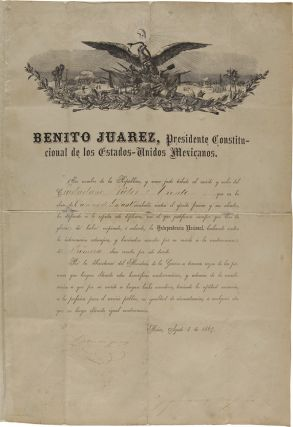PRINTED DECREE ACCOMPLISHED IN MANUSCRIPT AND SIGNED BY PRESIDENT BENITO JUAREZ, DECORATING A...