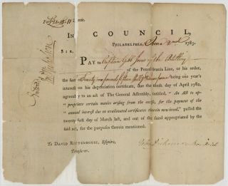 PRINTED PAY RECEIPT FOR CAPTAIN GIBB JONES, SIGNED BY JOHN DICKINSON AS PRESIDENT OF...
